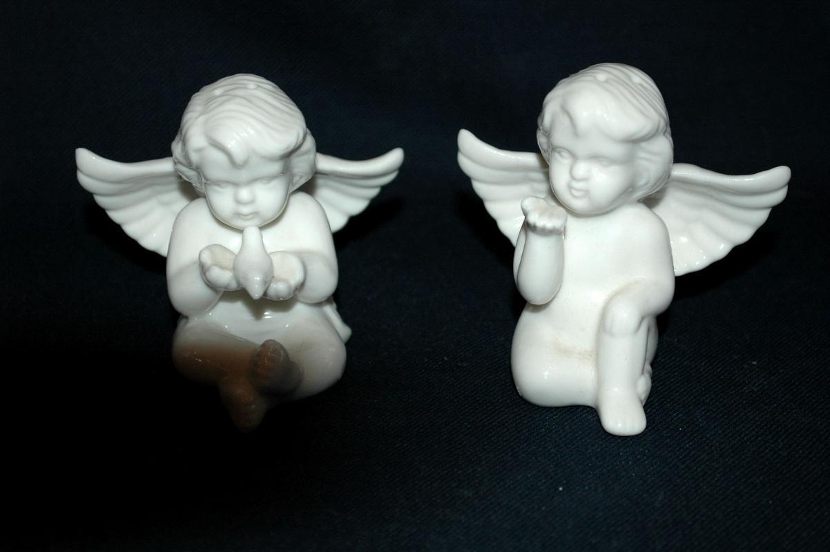 Pair of White Porcelain Cherub Angel Salt Pepper Shakers