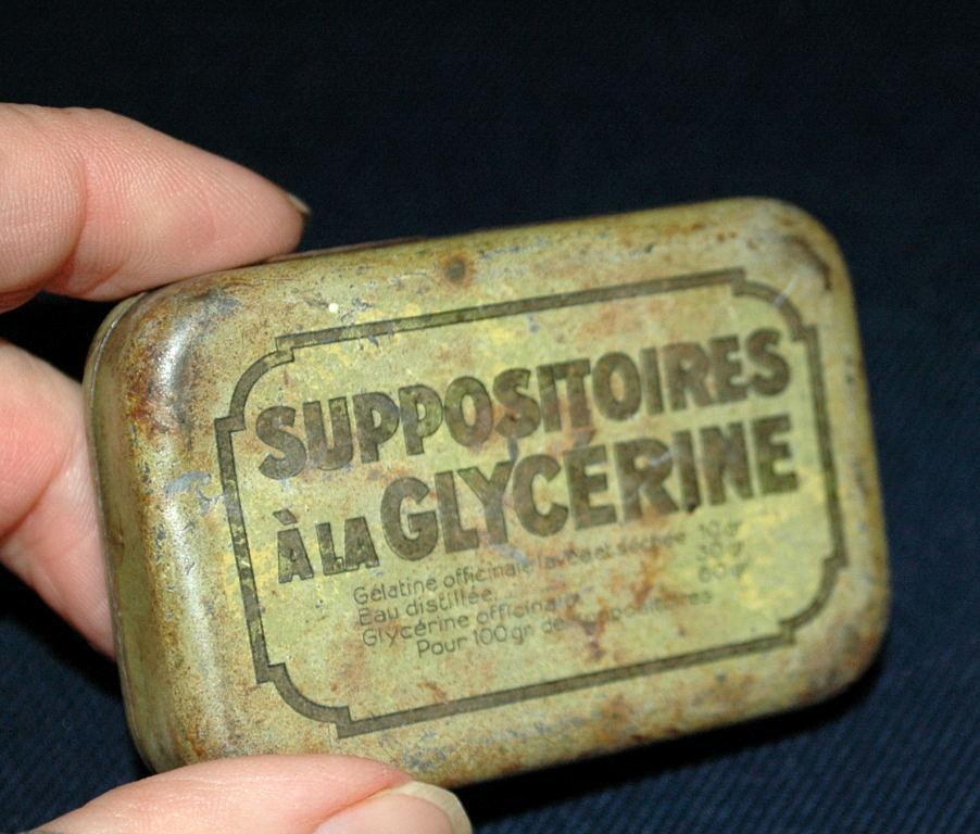 Antique French Tin Glycerin Suppositories