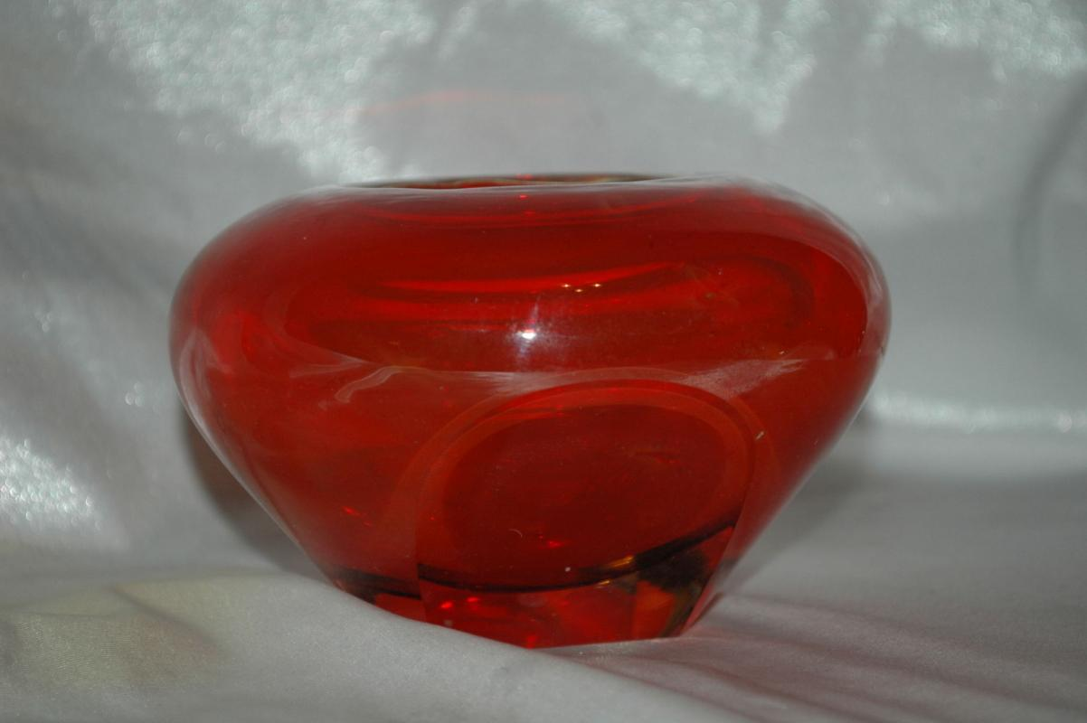 ORANGE ART GLASS SOMMERSO BOWL or Pot  Faceted on 2 sides