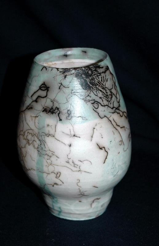 Blue and White Horse Hair  StonewarePottery   Vase  signed