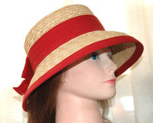 Adorable Straw Bucket Hat with Red Bow Band and Trim  *PRICE REDUCTION!*