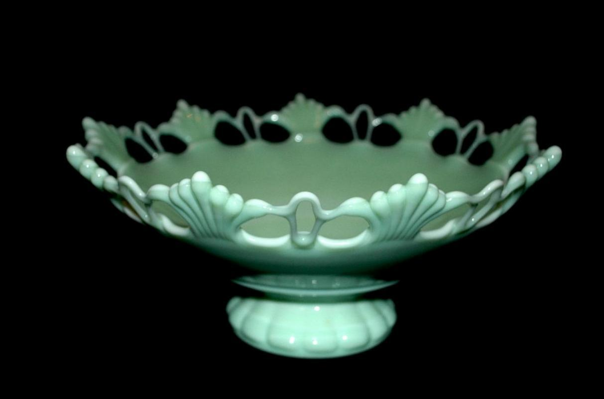 Westmoreland Elegant Jadeite Glass Footed Bowl Compote Open Work, Fan Detail