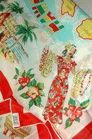 Vintage Hawaiian Souvenir Scarf Silk Rayon