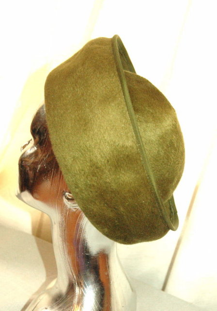 Olive Green Sharon Original Fur Felt Hat Italian Imported