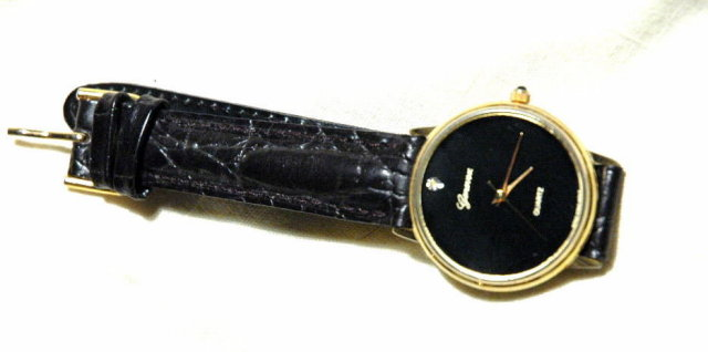Elegant Black Face Diamond Genevex Watch