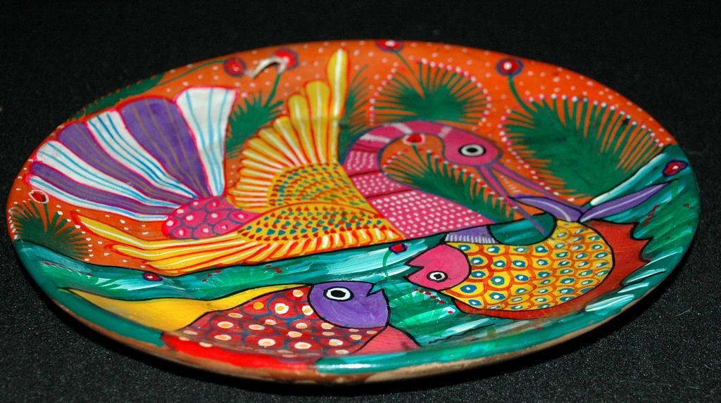 Mexican Talavera Pottery Plate with Hand Painted Swan Fish Design  -Story Plate