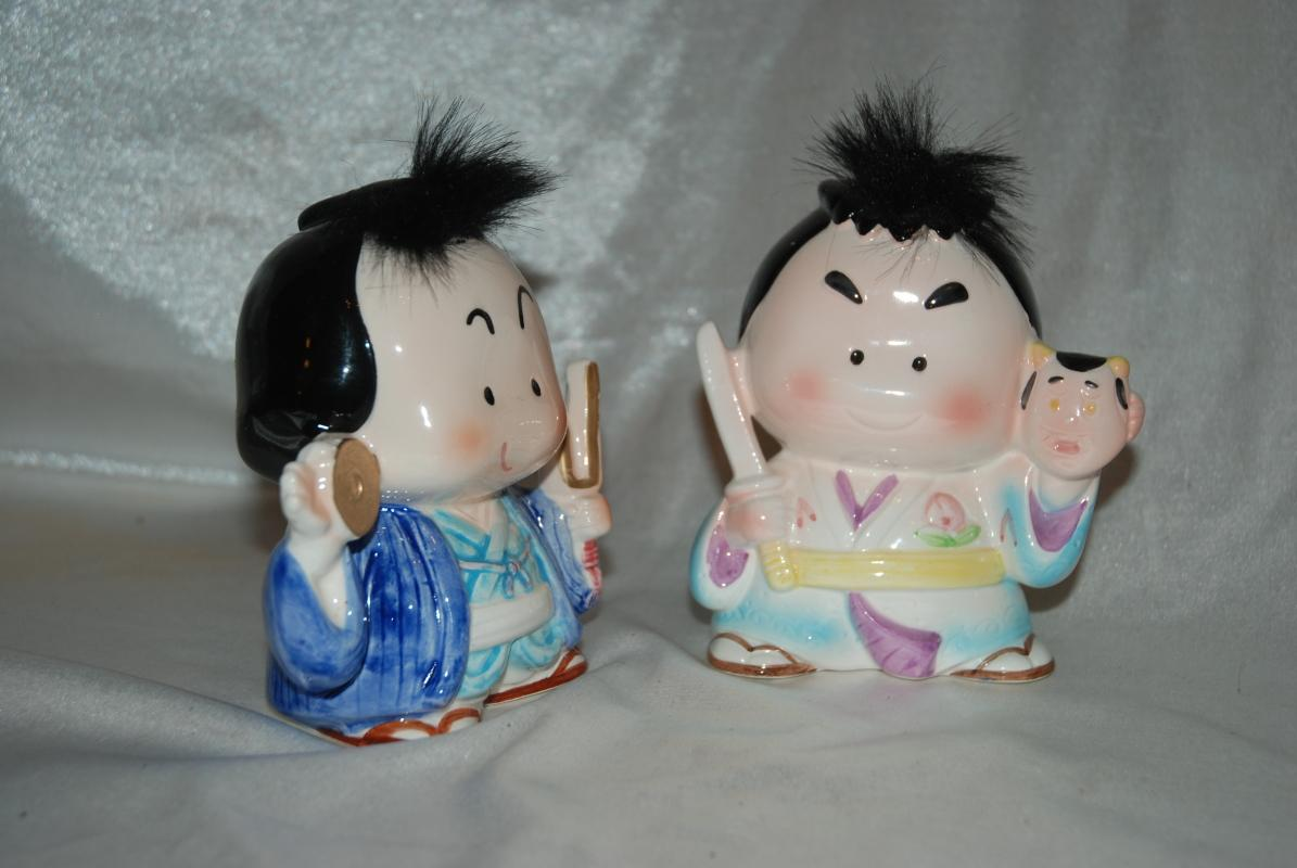 2 Novelty Ceramic Karate Coin Banks -Japan- Rare