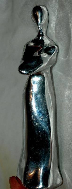 Hoselton Art Polished Aluminum Sculpture Mother holding Baby , Rare