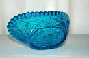 Blue Pressed Glass Bowl with Serrated edge