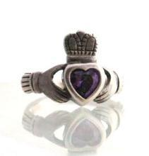Irish Claddagh Ring, Sterling Silver & Amethyst Heart hand crafted in  Ireland