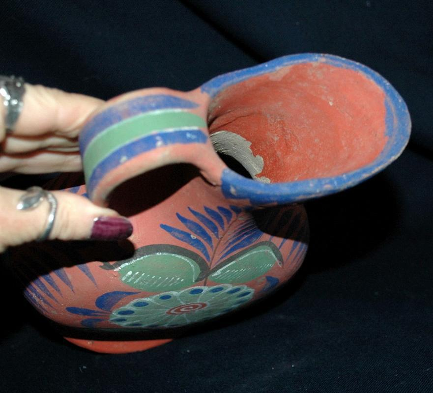 Mexico Tonala  un-burnished opaque  pottery water pitcher circa 1940's