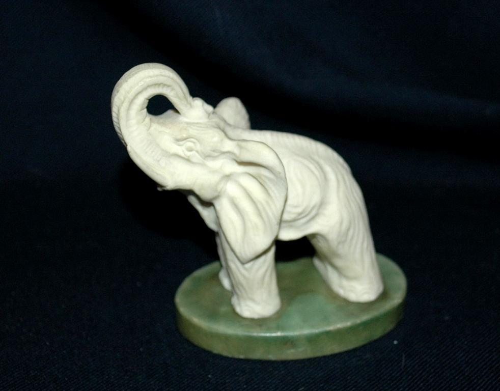 Hand Carved Alabaster Elephant  from Italy with Trunk up