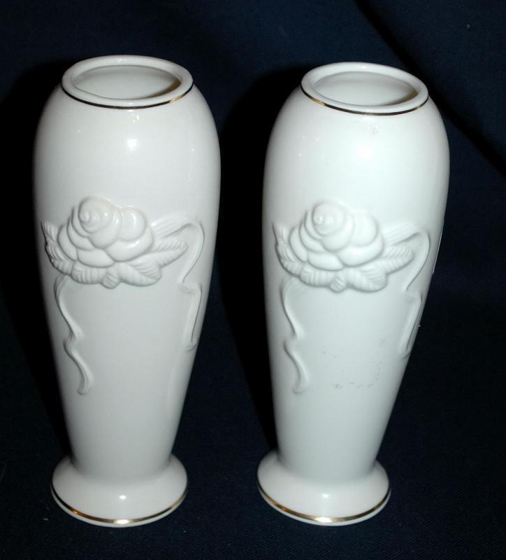 Matching Pair of Ivory Lenox  Porcelain  Rose Blossom  Vases with 24K trim