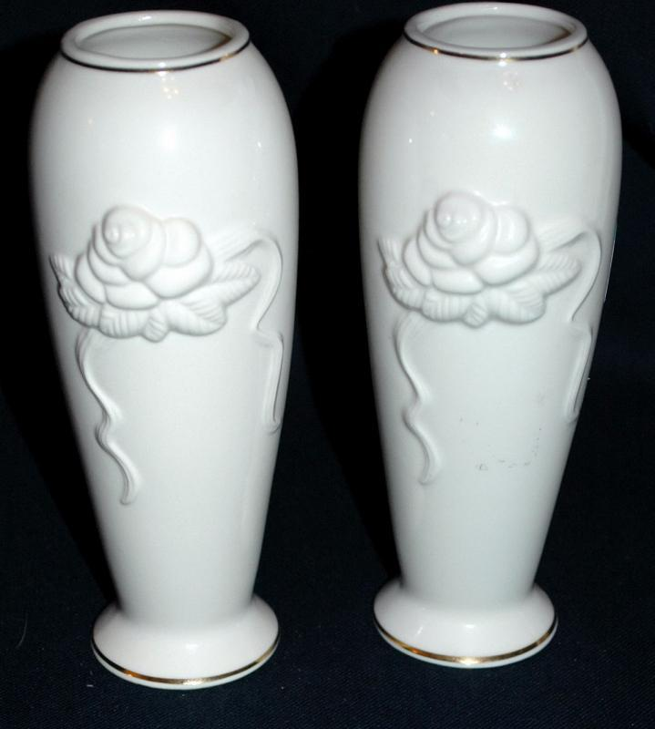 Matching Pair of Ivory Lenox  Porcelain  Rose Blossom  Vases with 24K trim