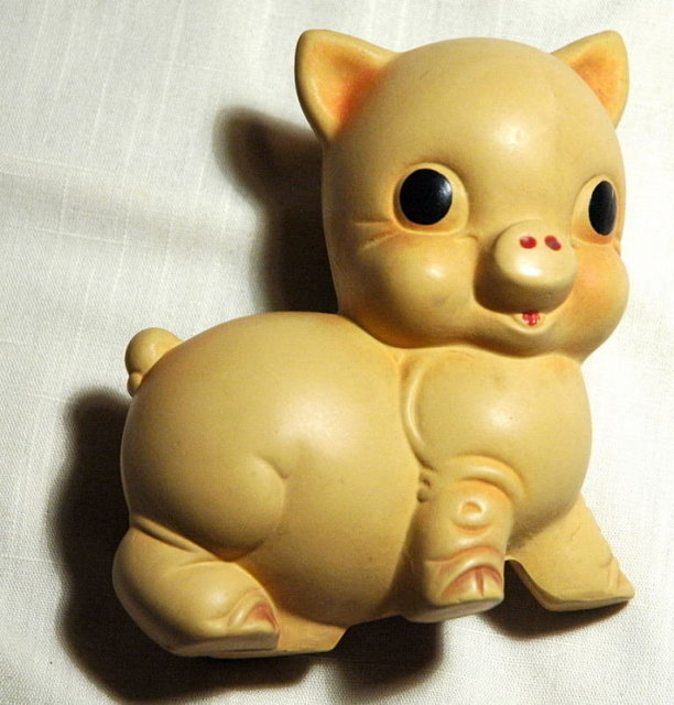 Vintage Rubber Piggy Squeak Toy  Rempel MFG. Co.