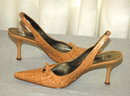 BCB Girls Pointy Beige Sling back pumps, heals size 8.5