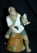 VINTAGE  Chinese Fisherman  MUDMAN CLAY SCULPTURE   Shekwan Ceramics
