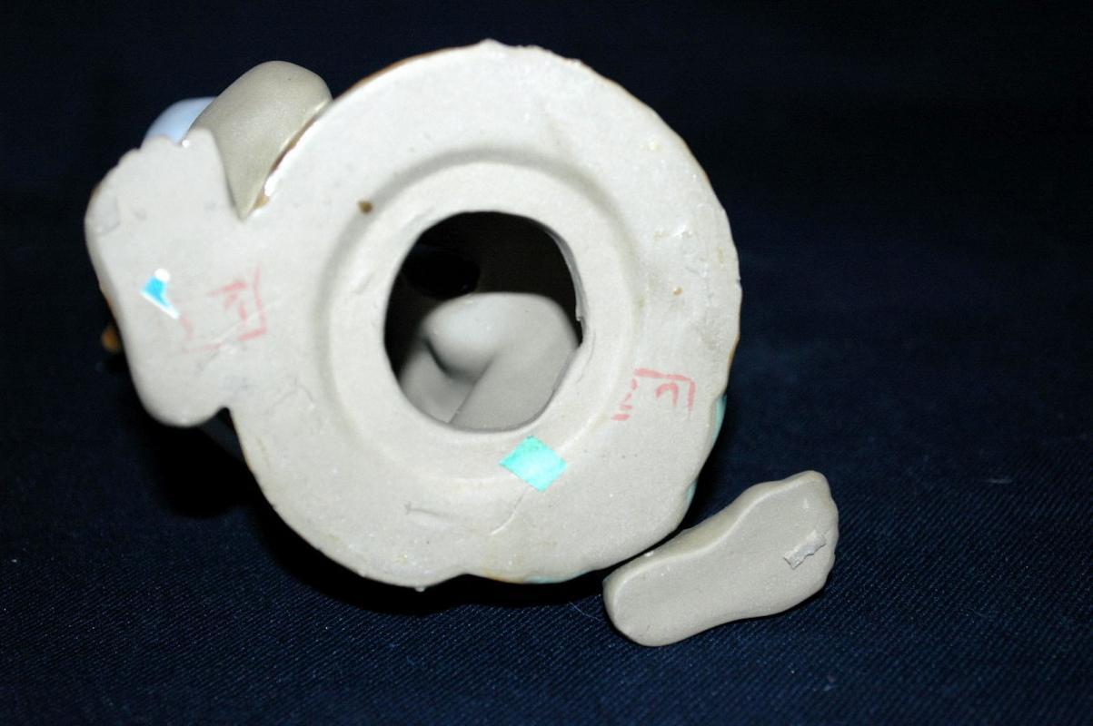 VINTAGE  Chinese Fisherman  MUDMAN CLAY SCULPTURE   Shekwan Ceramics