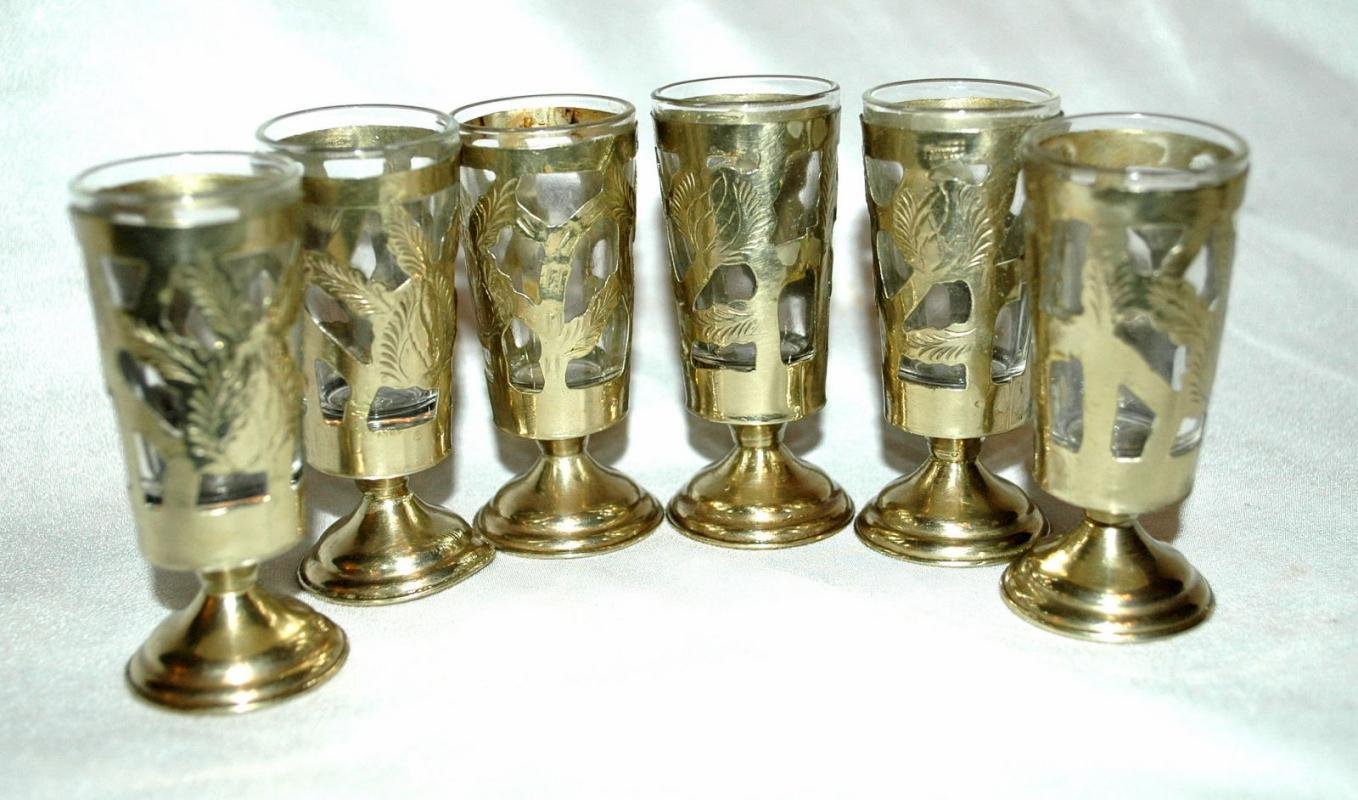 6 Fancy Mexican Silver over Glass Cordials or Footed Shot Glasses