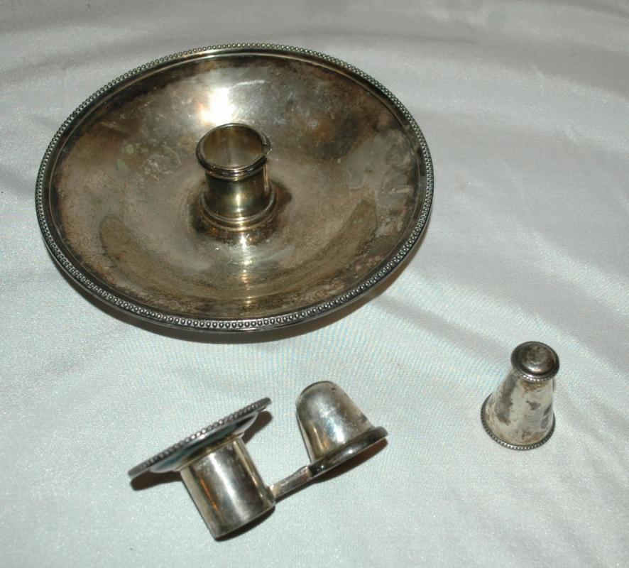 Elkington Silver Chamber Candlestick Holder with Snuffer 1898