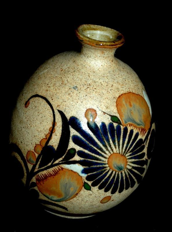 Folk Art Tonala Stoneware with Enameled Flowers  Bud Vase