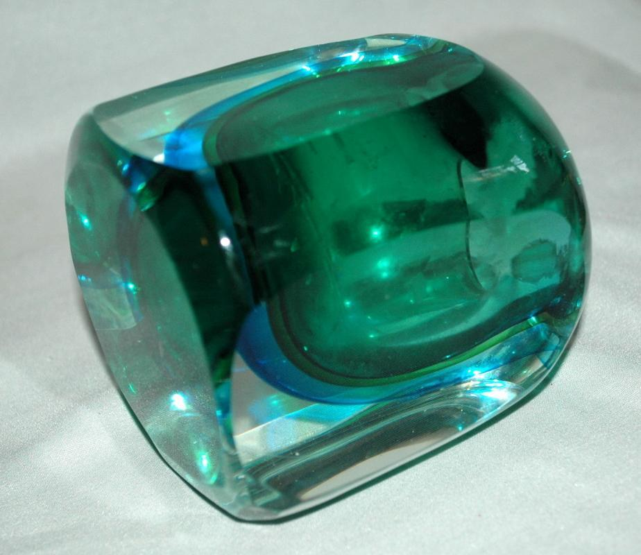 Vintage 1960s MURANO Art Glass  Sommerso Seguso Poli Blue Green, candle or lighter holder.