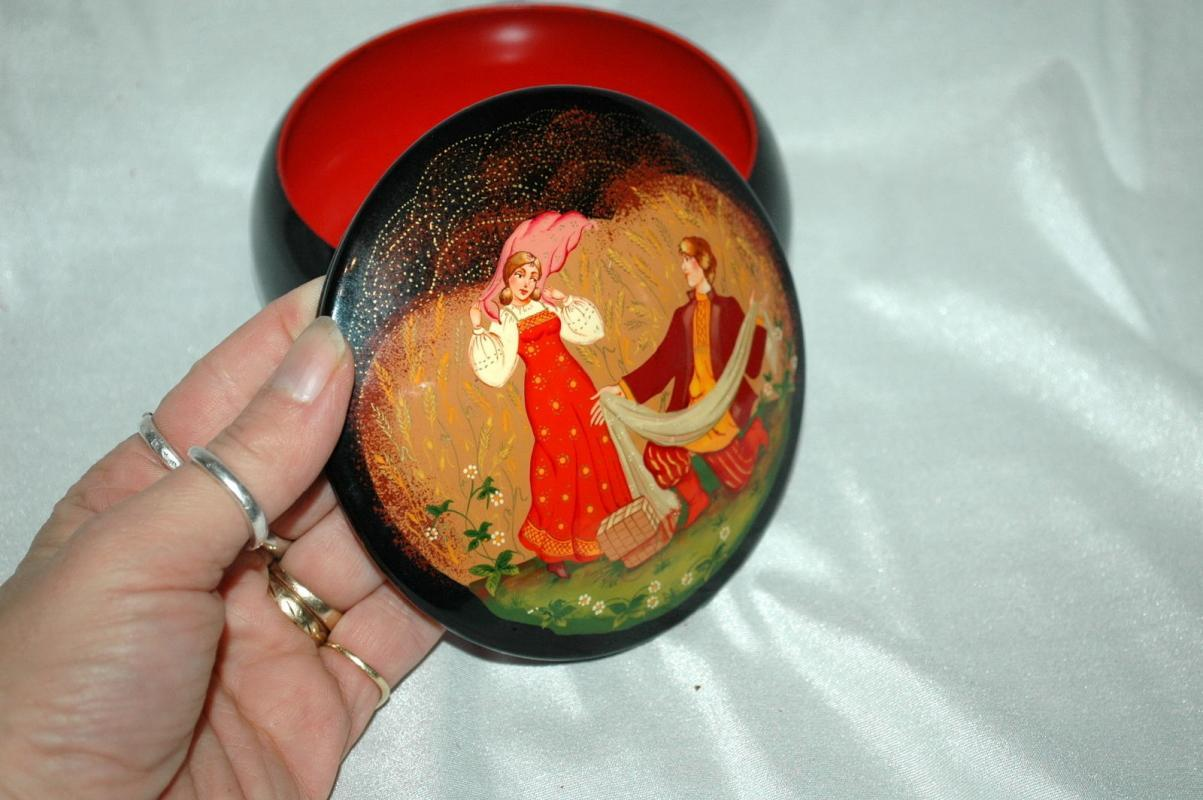 Russian Fairy Tale  Tole Painting & lacquered over  Metal Covered Bowl, Round Trinket Box  USSR