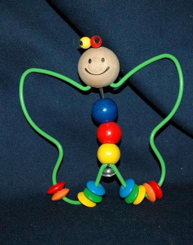 Adorable Wood Bead & Metal Butterfly Baby Toy / Rattle