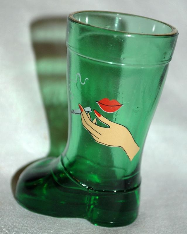 Mod Dep Green Boot Shot Glass , Woman's LIps and Hand with Cigarette