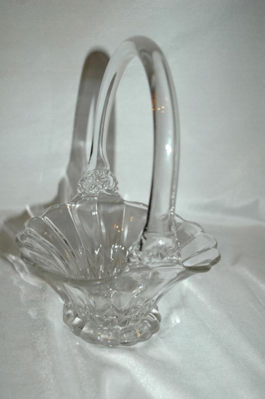 Crystal Clear Blown Glass Brides Basket