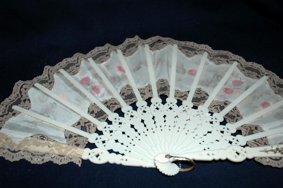 Large Beautiful Old Lace Hand Fan with Hand Painted Roses on Fabric