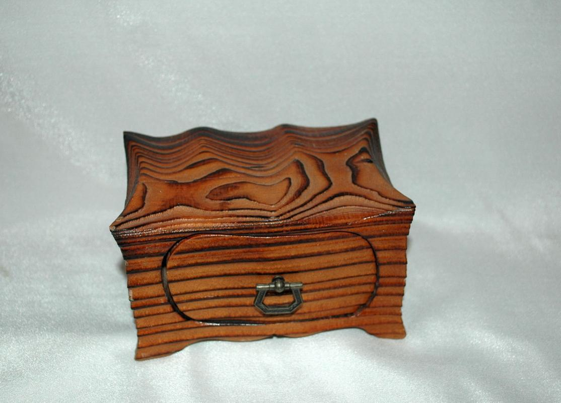 Vintage Hand Crafted Wood One Drawer Trinket Box  or Chest / Darkened Wood Grain