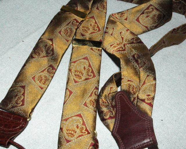 Maroon and Bronze Silk Suspenders