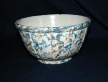 Large Antique Redwing Spongeware Bowl Mixing Bowl, Panel, Stoneware Bowl