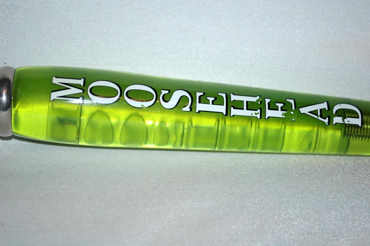 Moosehead Acrylic Beer Tap Handle, Moosehead Beer  of Canada  Green Translucent