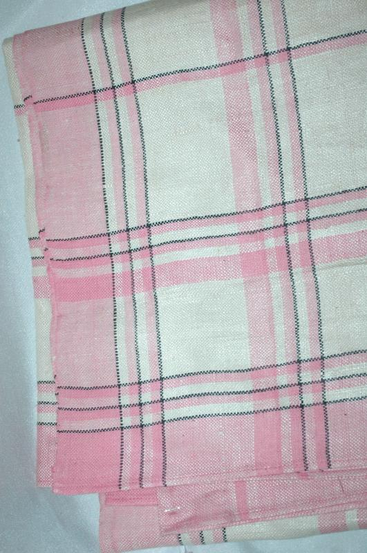 Linen Table Cloth Pink, Cream and Black Plaid