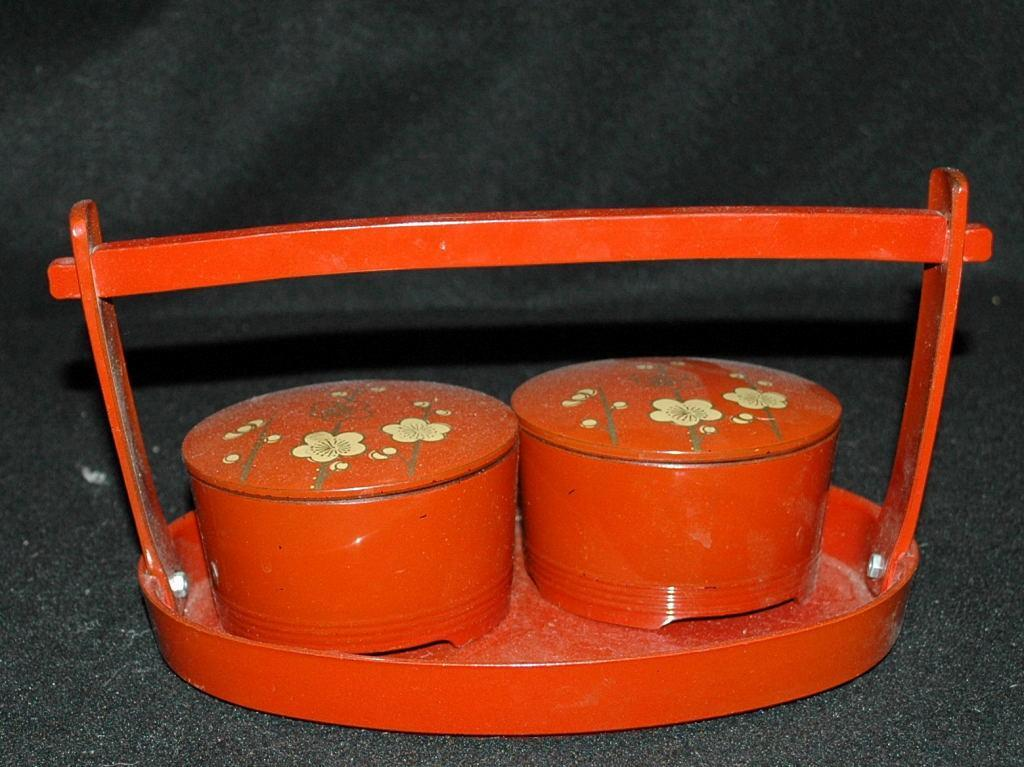 Asian  Wood Lacquer-WareTea Caddy Set / 2 lidded bowls with carrying tray