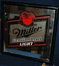 MILLER  GOLD FILTERED GENUINE DRAFT LIGHT  GLASS BAR MIRROR