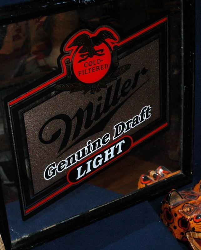 MILLER  GOLD FILTERED GENUINE DRAFT LIGHT  GLASS BAR MIRROR