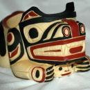 BOMA  SPIRIT BEAR  HOLDING ANOTHER FACE  TRINKET HOLDER   CARVED AND HAND PAINTED FROM CANADA'S FIRST NATION PEOPLE OR INTUITS