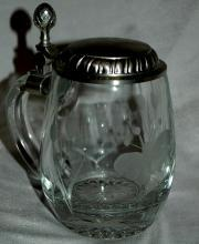 Etched Crystal German Beer Mug Stein  marked 92% BMF-ZINN West Germany