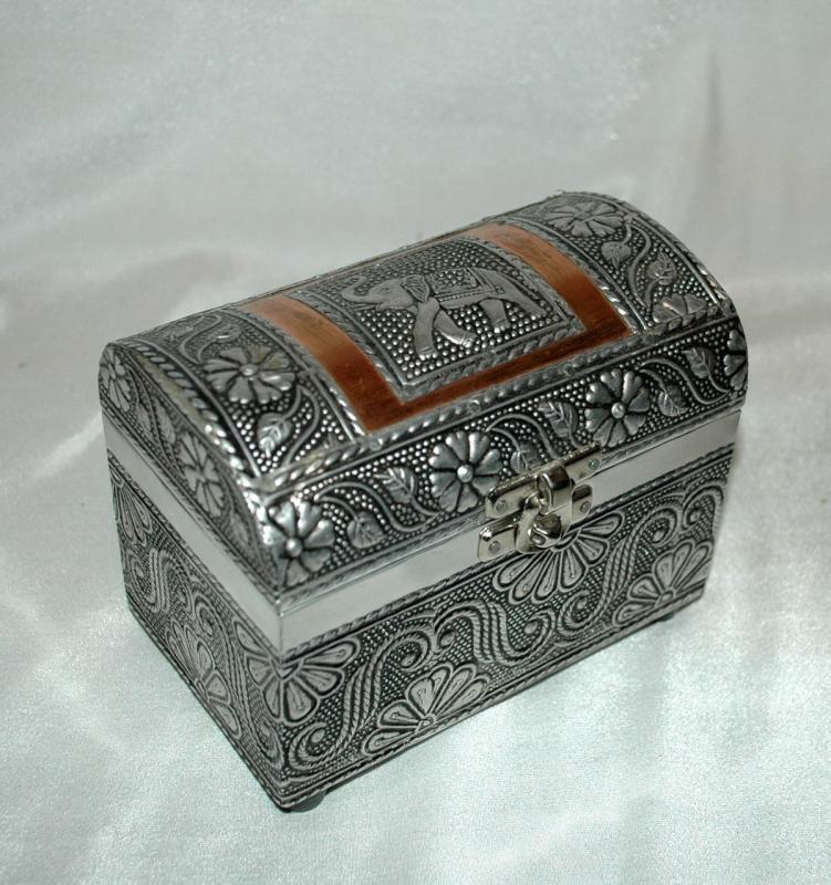 Dome Lid Elephant Copper & Silver Trinket Jewelry Chest Box