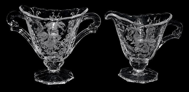 Beautiful FOOTED  Etched Crystal  Heisey Orchid Sugar and Creamer Circa: 1940 - 1957