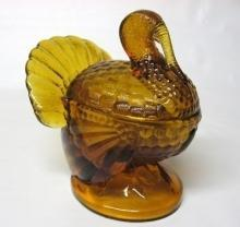 L.E. Smith dark amber turkey covered dish