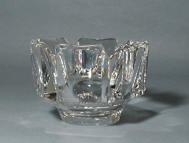 ORREFORS Hand blown in Sweden, Crystal Corona Bowl designed by Lars Hellsten