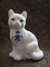 Fenton Opaque White Cat, Hand Painted with Blue Flowers Artist Signed