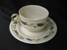 Belleek Christmas Holly Pattern Cup & Saucer - Ireland