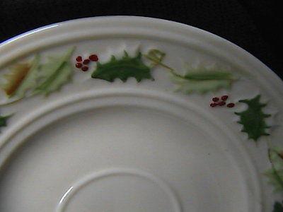 Belleek Christmas Holly Pattern Cup & Saucer - Ireland