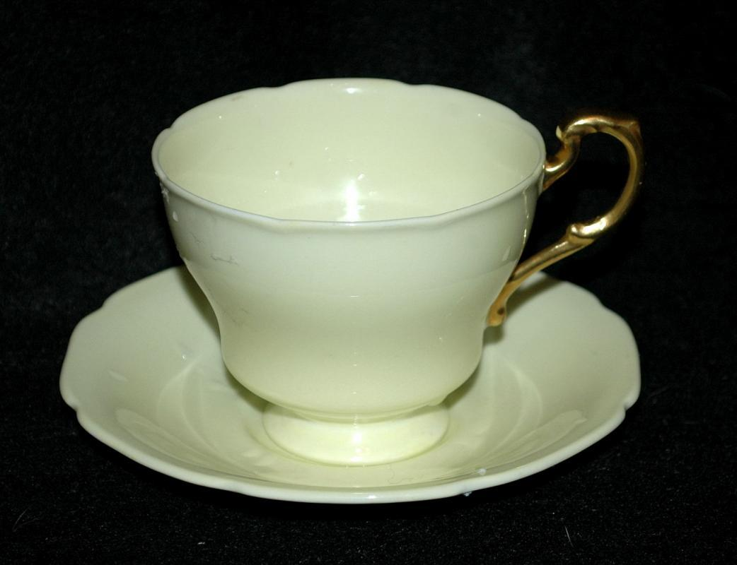 Paragon By Appointment H M The Queen & H M Queen Mary Fine Bone China England  Tea Cup with Saucer  Yellow with Gold