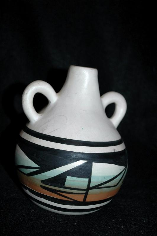 Native American 2 Handled Pottery Vase,  Signed Anthony Navajo